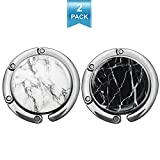 Foldable Purse Hook Womens Bag Table Hanger Collection Desk Hooks for Purse (White+Black Marble Hook)