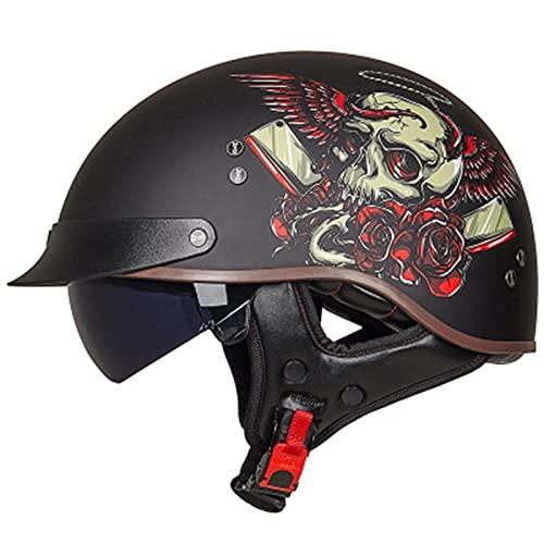 QAZXCVB Helmets Classic Vintage Moto Medio Casco,Casco Moto Jet Abierto Retro,ECE Homologado Casco Moto Abierto Crucero Scooter Off-Road Casco Exterior Equitación Protectora Cascohelmet F,XL