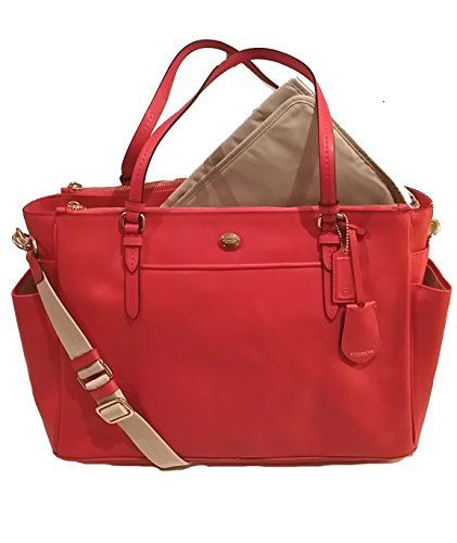 Coach Peyton Saffiano Multifunction Tote Diaper Travel Laptop Shoulder Messenger Bag Persimmon