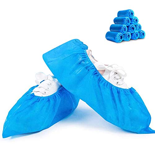 Shoe Covers Disposable -100 Pack(50 Pairs) Disposable Shoe & Boot Covers Waterproof Slip Resistant Shoe Booties, Durable Boot & Shoes Cover, One Size Fits All (CPE Plastic)
