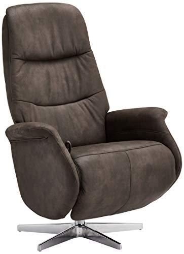 Ibbe Design Braun Stoff Drehbar Relaxsessel mit Manuell Verstellbar Relaxfunktion und Fussteil Fernsehsessel Boston, 90x79x114 cm