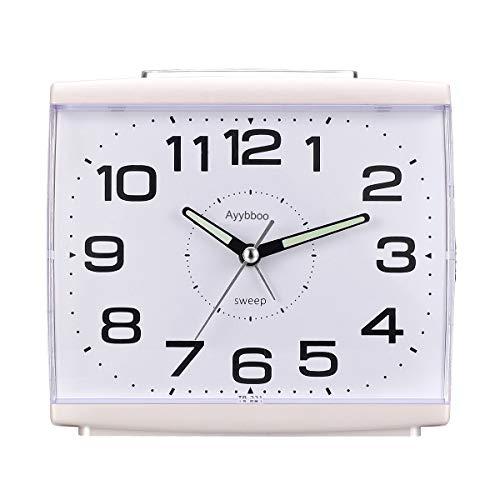 Ayybboo Reloj Despertador Analógico, Despertador Silencio con Luz Sin Tictac Reloj de Mesa Simple con Snooze Reloj Despertador Dormitorio Estudio Despertadores para Niños (Blanco)