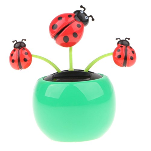 D DOLITY Green Colored Cute Solar Powered Bobble Insect Ladybug Model Toy, Car Desk Decor Kids Birthday Xmas Gift