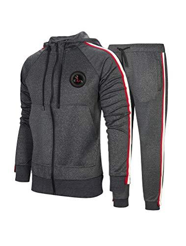 FTCayanz Herren Trainingsanzug Jogginganzug Sportanzug Männer Jogging Anzug Sweatshirt Hose 2-Dunkelgrau XXL