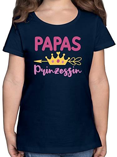 Vatertagsgeschenk Tochter & Sohn Kinder - Papas Prinzessin mit Krone - 140 (9/11 Jahre) - Dunkelblau - Papas Prinzessin 128 - F131K - Mädchen Kinder T-Shirt