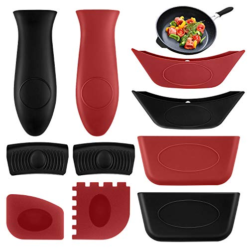 10PCS Silicone Hot Handle Holders Kit and Pot Holders Cover Removable Hot Resistant Pot Holder Handle Sleeves Lid Covers for Cast Iron Skillets Metal Frying Pans Aluminum Cookware (Red Scraper)
