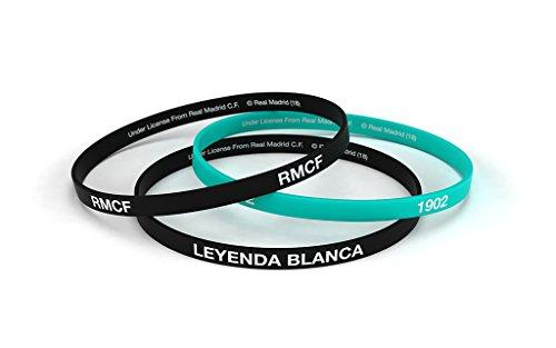 Braccialetti della squadra Real Madrid Club de Fútbol, misura standard da uomo, in silicone, prodotto ufficiale, colore: nero e smeraldo