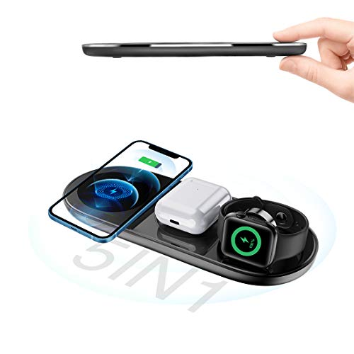 Caricatore Wireless, TODAYI 5 in 1 Base Ricarica Wireless Qi 15W Max Caricabatterie Telefono Wireless Charger per iPhone 12 11 Pro Max, Apple Watch, Samsung Galaxy S10 S9 S8, Samsung Watch, Airpods