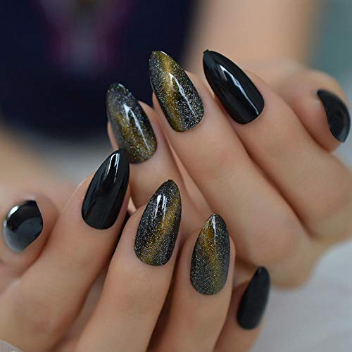 TJJF 3D Cat Eyes Press On Nails Medium Black Gel Nail Gold Jewelry Nail Tips Handmade Kit 24Pcs