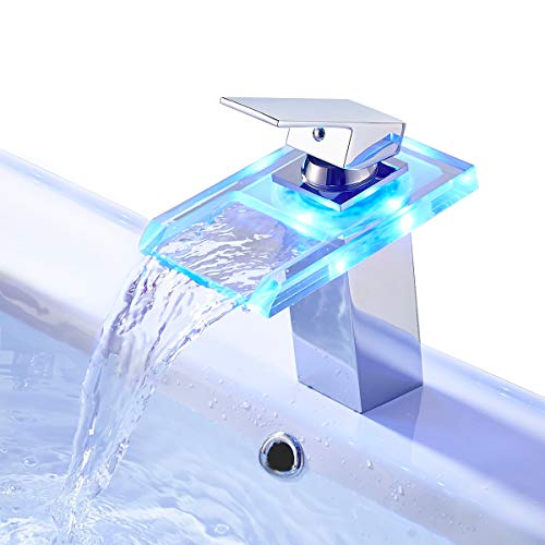 ROVATE Basin LED Faucet Waterfall with Single Handle for Bathroom Vanity Sink, Glass Chrome RGB Mixer, Spout Height (4.13 inch)