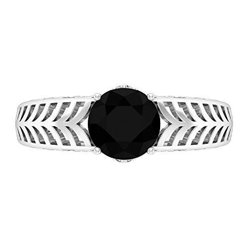 Anillo solitario, 1,75 ct creado en laboratorio, anillo de diamante negro, filigrana, oro (7 mm, forma redonda, 14K Oro blanco, Size:EU 56