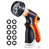 PATHONOR Water Hose Nozzle, Hose Spray Nozzle Garden Hose Nozzle Heavy Duty high Pressure with 8 Adjustable Watering Spray Patterns for Watering Garden, Cleaning, Washing Cars, Showering Pets, orange