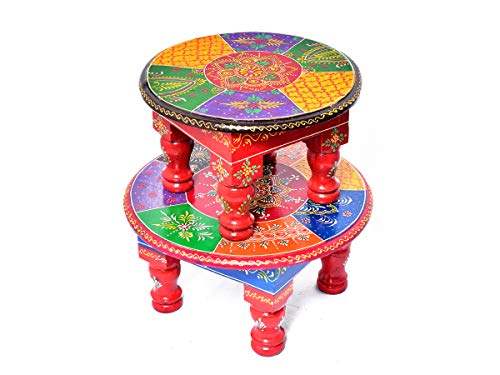 Jaipur Crafrafts Hub Peint à la Main Design de Travail Puja Chowki & ‿Bajot Lot de 2 tabourets de Table Multicolores pour prières Quotidiennes