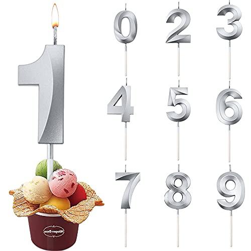 Candele di Compleanno Numbero, Numero Candele di Compleanno Glitter, Candele Torta Compleanno,Adatto A Feste di Compleanno, Feste di Anniversario di Matrimonio, Serate di Laurea(Argento 1)