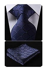 Idea Regalo - HISDERN Dai un'occhiata Cravatta da sposa Fazzoletto Cravatta da uomo & Pocket Square Set (Blu Navy)