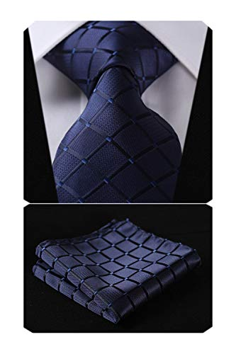 HISDERN Plaid Blue Tie Handkerchief Woven Classic Men's Necktie & Pocket Square Set,Navy Blue,One Size