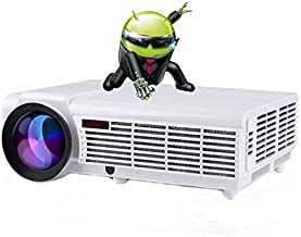 Gzunelic 5500 lumens Smart LCD LED Video Projector 1080p Android WiFi Full HD Home Theater Proyector Built in Android OS Bluetooth Wireless Mirror to Mobile Phones via Airplay or Miracast
