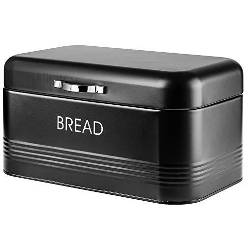 KADAX Brotkasten, Brotbox aus Stahl gebürstet, 30 x 18 x 16 cm, geräumiger Brotbehälter mit dichtem Deckel, für längere frische des Brotes, Brotaufbewahrungsbehälter (Schwarz)