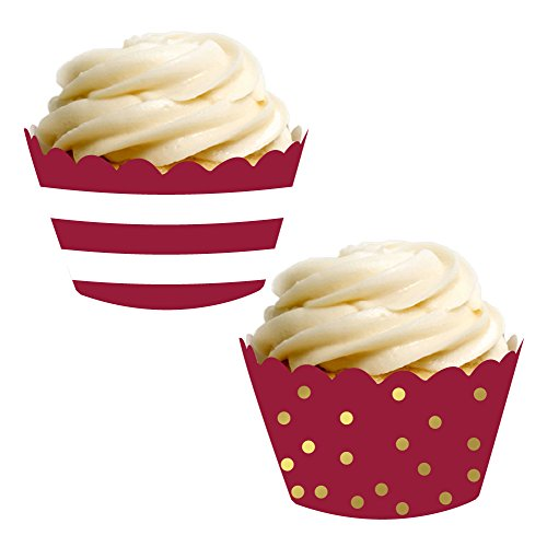 Andaz Press Party Cupcake Wrapper Decorations, Burgundy Maroon Stripes and Metallic Gold Ink Polka Dots, 24-Pack, School Graduation Theme Colored Bulk Cake Supplies