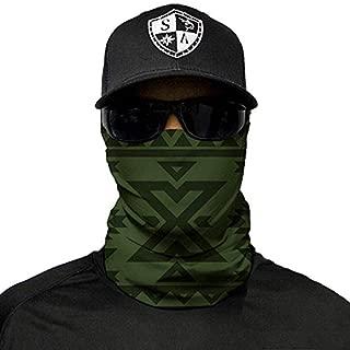 SA Company Face Mask Shield Protective Balaclava Bandana MicroFiber Tube Neck Warmer - Aztec Dark Olive Green