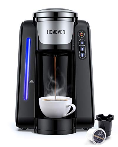 K Cup Coffee Maker, HOMEVER Single Serve Coffee Maker, K-Cup Pod Coffee Brewer 6 Cup, Coffee Machine Compatible With 99% K Cup Pods, 30S Quick Brewing 6 to 10 Oz with Auto Shut-Off, Black