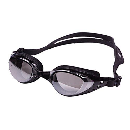 Gafas de natación, impermeables y ajustables, con espejo, protección UV y antiempañamiento, para hombre y mujer (negro)