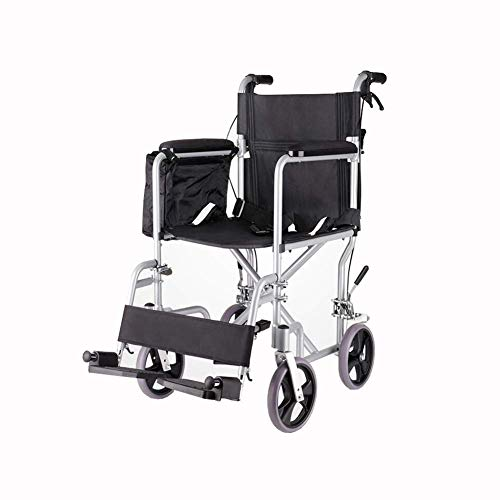 ZHICHUAN Wheelchair Folding Boarding Available Lightweight Solid Tire Safety Brake Transport Aluminum Alloy Travel Portable Stable armres