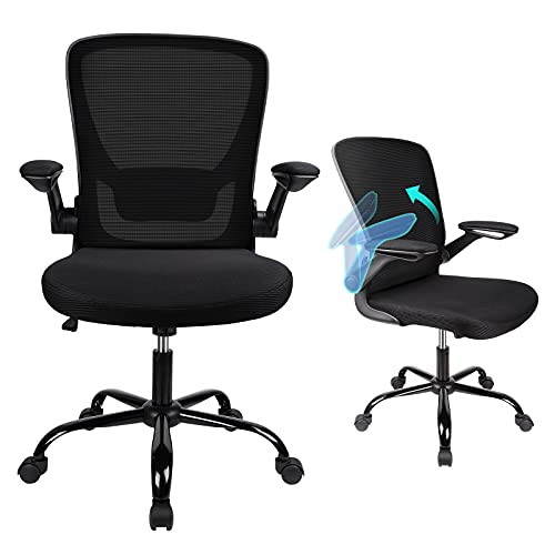 Komene Ergonomic Office Chair, Adjustable Home Desk Chair Computer Chair with Flip up Armrests and Lumbar Support, Breathable Mesh Backrest Task Chair (Black)