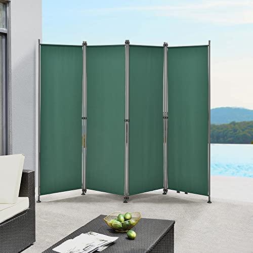 pro.tec Paravento/Separè per Uso Esterno/Interno - 215 x 170 cm (LxA) - Divisorio a 4 Pannelli per Giardino/Terrazza Struttura Pieghevole in Acciaio - Verde Scuro