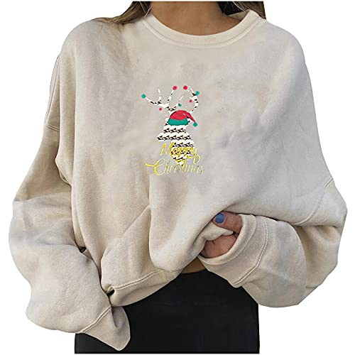 MEIPIQI Jersey de Navidad para mujer, cuello redondo, camiseta de manga larga, algodón, camiseta estampada, otoño, ocio, blusa de manga larga para mujer, informal, estampado