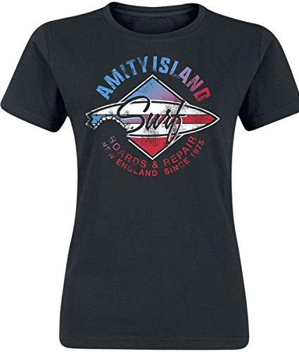 Der Weisse Hai Tiburón Amity Island Mujer Camiseta Negro XL, 100% algodón, Regular