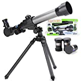 Saicowordist Telescopes for Kids Beginners,60mm HD Refractor Telescope for Astronomy, Starter Scope with Tripod, Phone Adapter, Finder Scope, Moon Filter(telescope)