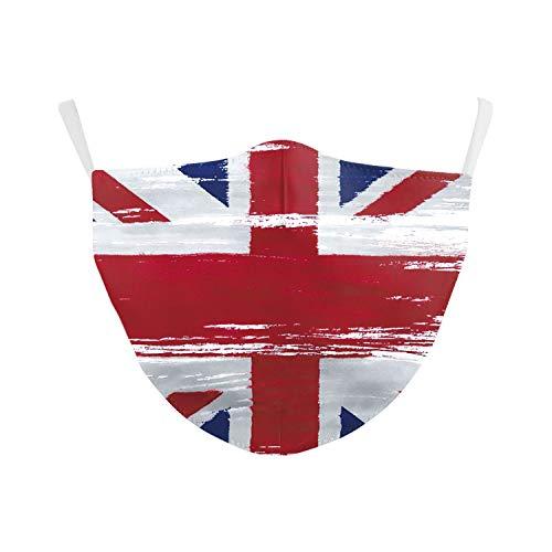 eBoutik Gesichtsmaske mit Nationalflagge, Gesichtsbedeckung zum Abstandhalten, wiederverwendbar und waschbar (Union Jack - Farbspritzer-Stil)