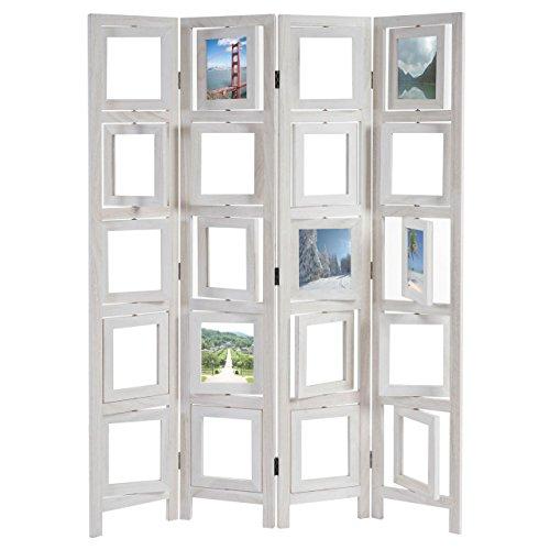 Mendler Paravent Fotogalerie II, Raumteiler Trennwand Sichtschutz Foto-Paravent, 160x125cm - weiß