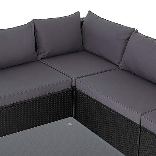 Casaria Poly Rattan XXL Lounge Set inkl. 7cm Auflagen und 15cm dicken Kissen Tisch mit Glasplatte frei stellbare Elemente Gartenmöbel Sitzgruppe Schwarz Grau - 5