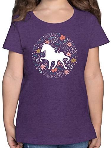 Tiermotive Kind - Pferd mit Blumen - 164 (14/15 Jahre) - Lila Meliert - Pferde Shirt - F131K - Mädchen Kinder T-Shirt
