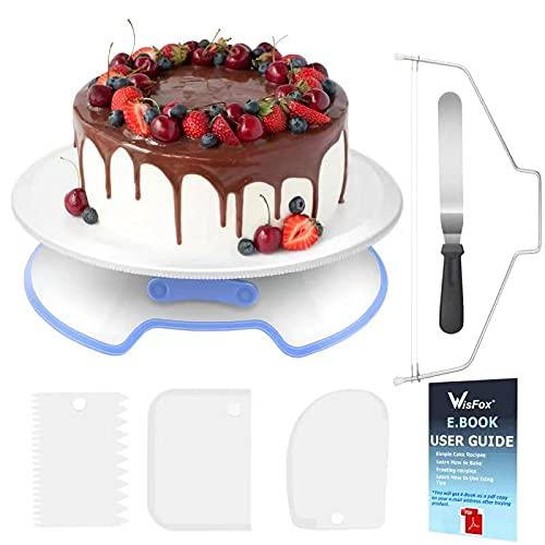 WisFox Decorazione la Torta Kit di Utensili Decorazioni Torte con Fresa per Dolci, Spatola, Scrappers della Torta Turntable con Serratura