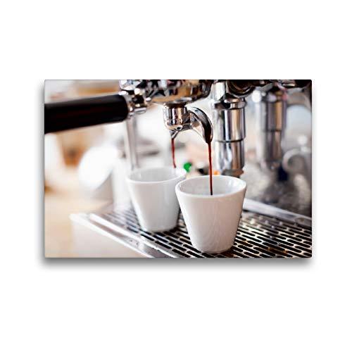 Preisvergleich Produktbild CALVENDO Premium Textil-Leinwand 45 x 30 cm Quer-Format Langsam läuft der aromatisch duftende Espresso aus der Kaffemaschine in die Tassen,  Leinwanddruck Verlag