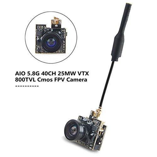 HankerMall FPV Cámara micro AIO camara fpv 5.8G VTX 40CH 800TVL vídeo Transmisor de con Antena para 50-100mm FPV Interior Drone Quadcopter