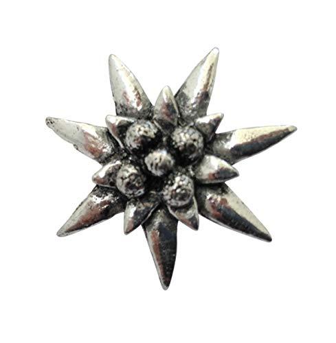 Brazil Lederwaren Ansteckpin Edelweiss   für den Hut oder das Revers   Perfekt zum Trachten-Outfit   Anstecker Pin Button   Altsilber