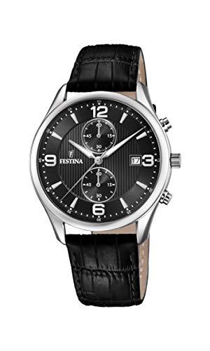 Festina Herren Chronograph Quarz Uhr mit Leder Armband F6855/8