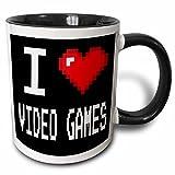 3dRose Geeky Old School Pixels 8-Bit I Heart I Love Video Games Two Tone Mug, 11 oz, Black/White
