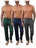 Andrew Scott Men's Pack of 3 Soft & Light 100% Cotton Drawstring Yoga Lounge & Sleep Pant (3 Pack- Hunter Green/Navy/Charcoal, Medium)