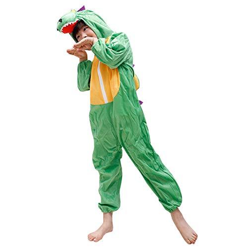 LPATTERN Baby/Kinder Jungen/Mädchen Cosplay Overall Tierkostüm Bühne Kleidung Spiel Kostüm Cartoon Jumpsuit mit Kapuze- Tier Motiv Kinderkostüm, Grün-Gelb Dinosaurier, 134/140( Label:140CM)
