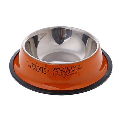 Lyguy Pet Feeding Bowl, Multi-Color Anti-Skid Stainless Steel Cat Dog Food Water Bowl Pet Feeding Tool Pattern A 1 Pezzo In Modo Casuale Arancione