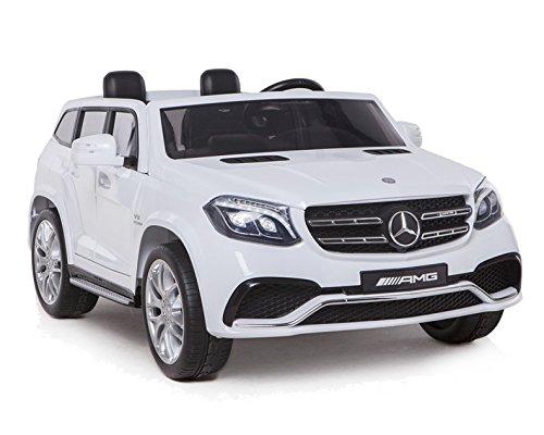Toyas Mercedes Benz GLS63 AMG Jeep SUV Kinder Elektro Auto KINDERFAHRZEUG 4x45Watt Motoren LEDERSITZ Gummireifen in Weiß