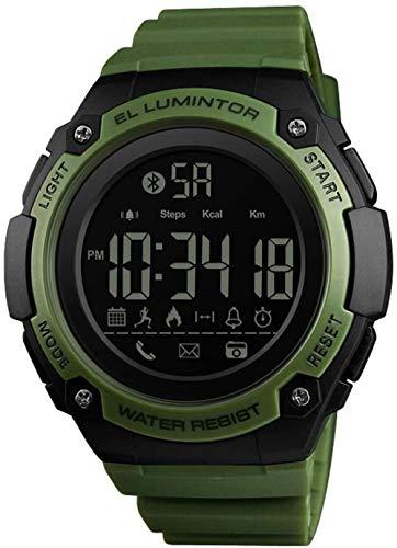 Deportes Smart Watch al aire libre multifuncional hombres s reloj de pulsera 50M impermeable podómetro contador de calorías llamadas/SMS recordatorio Bluetooth Fitness Tracker reloj verde-verde