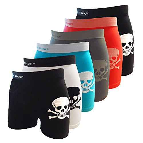 Crazy Cool Nylon Stretchable Seamless Mens Boxer Briefs Underwear 6-Pack (Large/XLarge, Skull-6Pack)