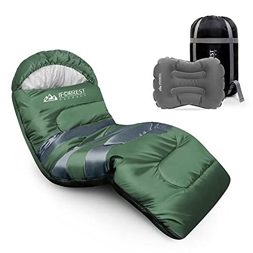 IFORREST Sleeping Bag for Adults and Teens Camping - Cold Weather Backpacking Sleep Bed - Extra-Wide & Warm, King Size XL with Ultra-Compact Inflatable Pillow