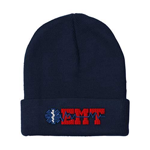 Custom Beanie for Men & Women EMT Paramedic Embroidery Acrylic Skull Cap Hat Navy Design Only